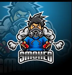 Smoked esport mascot logo design vector
