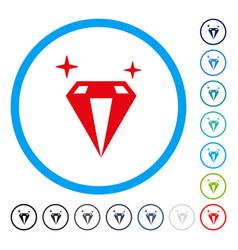 Sparkle diamond crystal rounded icon vector