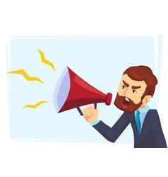 successful beard businessman character shouting vector image