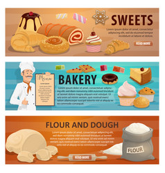 Sweets and bakery dough from flour banners vector