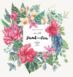 template card of tropical flowers and vector image