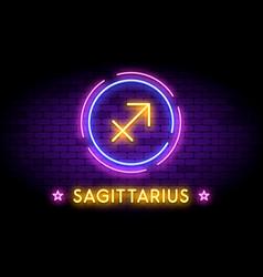 the sagittarius zodiac symbol in neon style vector image