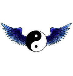 Traditional chinese yin-yang symbol with raised up vector