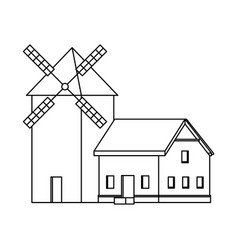 traditional old windmill building farm vector image