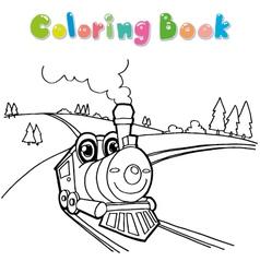 train coloring page cartoon vector image