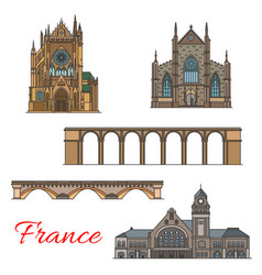 Travel landmark of france icon of old architecture vector