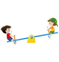 Two boys playing on seesaw vector