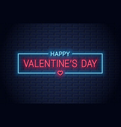 valentines day neon banner with valentine heart vector image
