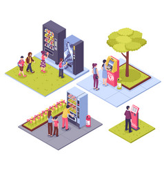 vending machines isometric concept vector image