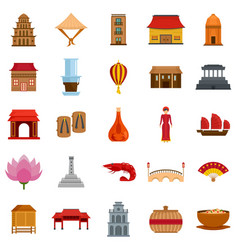 Vietnam travel tourism icons set flat style vector