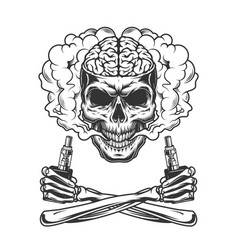 vintage skull with human brain vector image