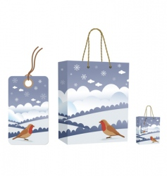 Winter bag and tag set vector