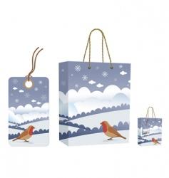 Winter bag and tag set vector