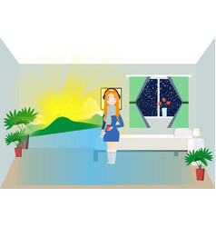 woman holding phone and looking at smart screen vector image