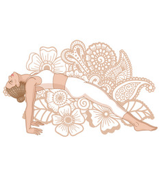 Women silhouette upward plank pose vector