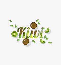 word kiwi design in paper art style vector image