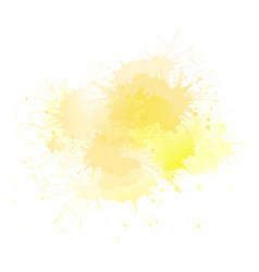 yellow watercolor splashes with highlights the vector image