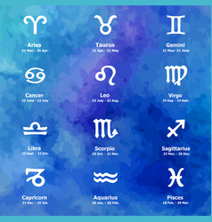 Zodiac icons freehand drawing vector