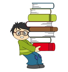 Child with a lot of books to study vector image vector image