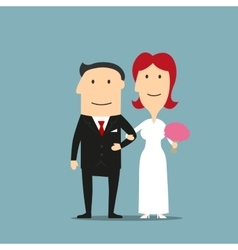 Just married cartoon bride and groom vector image