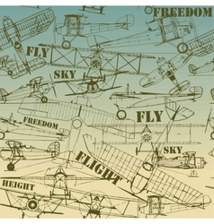 Retro seamless pattern old airplanes drawing vector image
