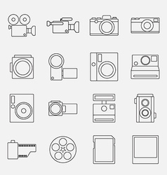 Set of cameras outline style icon vector image vector image