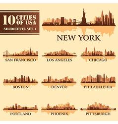 Set USA City 1 brown vector image vector image