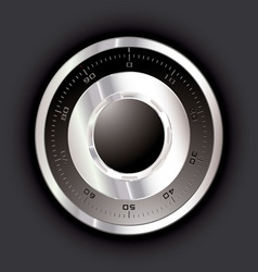 silver metal safe dial with black background vector image