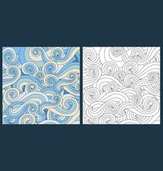 zentangle waves ocean water antistress vector image vector image