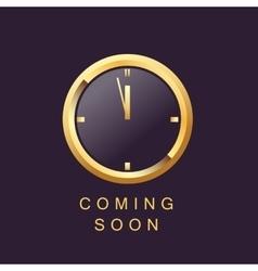 coming soon design template clock elegant gold vector image