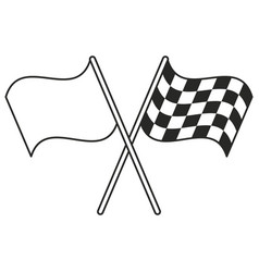 crossed flag start racing thin line vector image