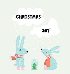 cute winter greeting background with rabbits vector image vector image