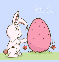 white bunny with big easter eggs vector image