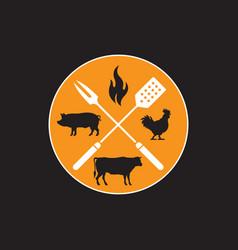 circular barbecue emblem vector image