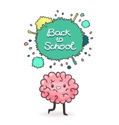 Cute cartoon brain Back to school background vector image