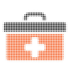 first aid toolbox halftone icon vector image