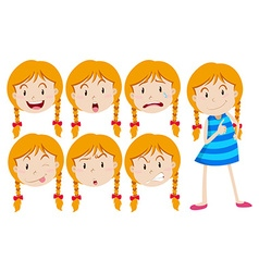 Girl with blond hair with many facial expressions vector image vector image