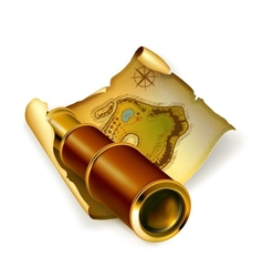 Old map and spyglass vector image vector image