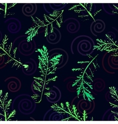 Seamless imprints pattern of the branched herbs vector image