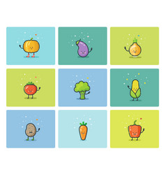 set of flat vegetable icons cute cartoon vector image vector image