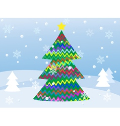 snowy winter landscape with christmas tree vector image vector image