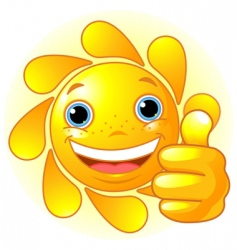 sun hand giving thumbs up vector image