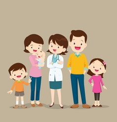 woman doctor and cute family with baby vector image vector image