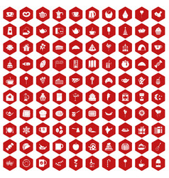 100 tea party icons hexagon red vector image vector image