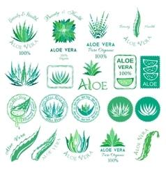 Aloe vera design elements Stencil style vector image vector image