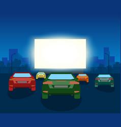 car open air cinema vintage vector image vector image