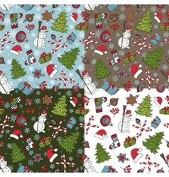 Christmas samless pattern setWinter doodles vector image