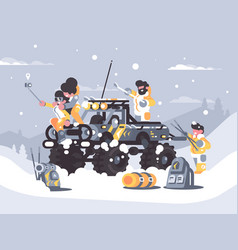 friends rest in winter in mountains vector image