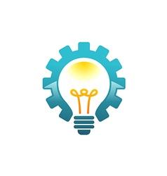 Light bulb gear work idea logo vector