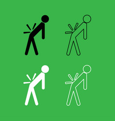 man a with sick back backache icon black and vector image